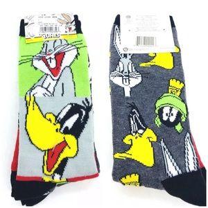 Bugs Bunny Daffy Duck Socks 2 pair WB Sz 6-12